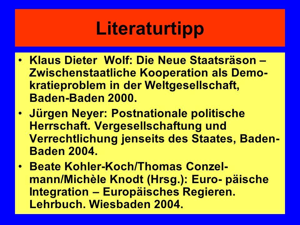 Literaturtipp Klaus Dieter Wolf: Die Neue Staatsräson – Zwischenstaatliche Kooperation als Demo- kratieproblem in der Weltgesellschaft, Baden-Baden 20