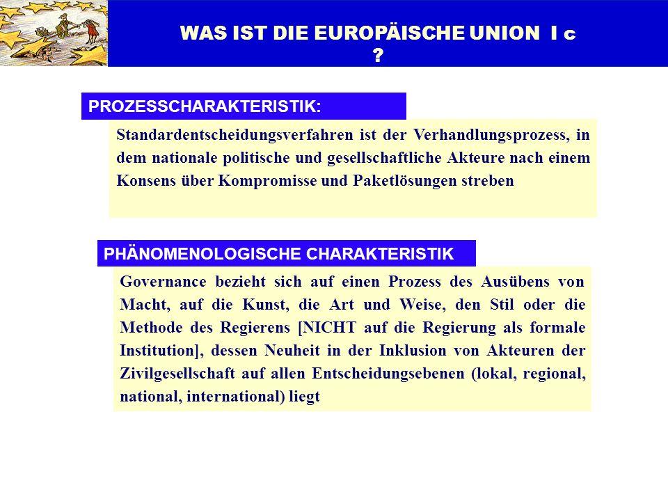 WAS IST DIE EUROPÄISCHE UNION I c ? Standardentscheidungsverfahren ist der Verhandlungsprozess, in dem nationale politische und gesellschaftliche Akte