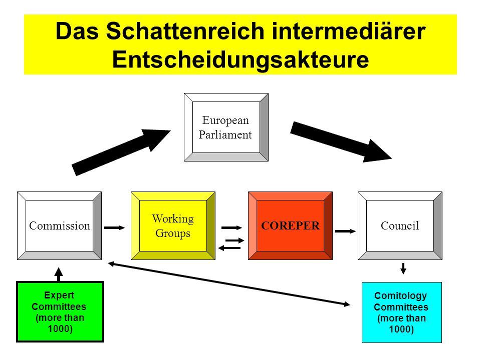 Das Schattenreich intermediärer Entscheidungsakteure Commission European Parliament COREPER Working Groups Council Expert Committees (more than 1000)