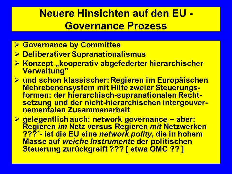 Neuere Hinsichten auf den EU - Governance Prozess Governance by Committee Deliberativer Supranationalismus Konzept kooperativ abgefederter hierarchisc