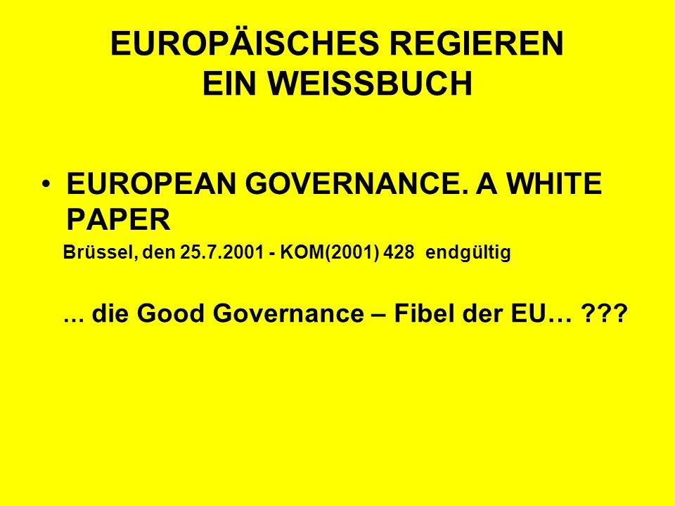 EUROPÄISCHES REGIEREN EIN WEISSBUCH EUROPEAN GOVERNANCE. A WHITE PAPER Brüssel, den 25.7.2001 - KOM(2001) 428 endgültig … die Good Governance – Fibel