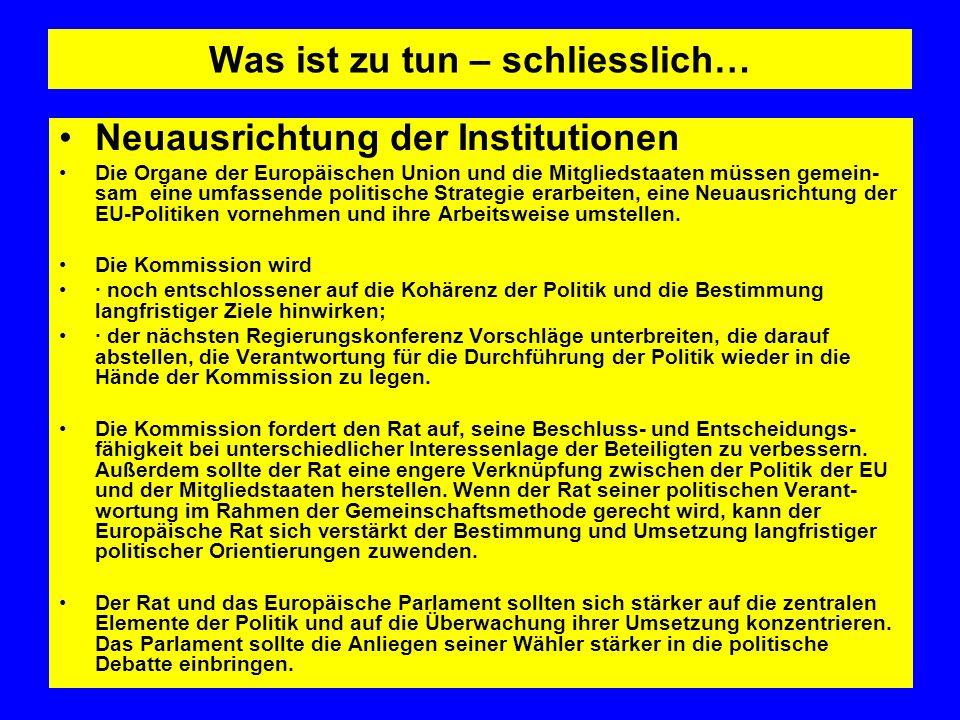 Was ist zu tun – schliesslich… Neuausrichtung der Institutionen Die Organe der Europäischen Union und die Mitgliedstaaten müssen gemein- sam eine umfa