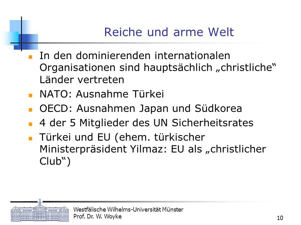 Westfälische Wilhelms-Universität Münster Prof. Dr. W. Woyke 10 Reiche und arme Welt In den dominierenden internationalen Organisationen sind hauptsäc
