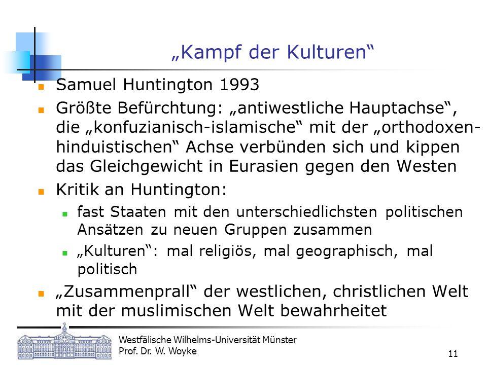 Westfälische Wilhelms-Universität Münster Prof. Dr. W. Woyke 11 Kampf der Kulturen Samuel Huntington 1993 Größte Befürchtung: antiwestliche Hauptachse