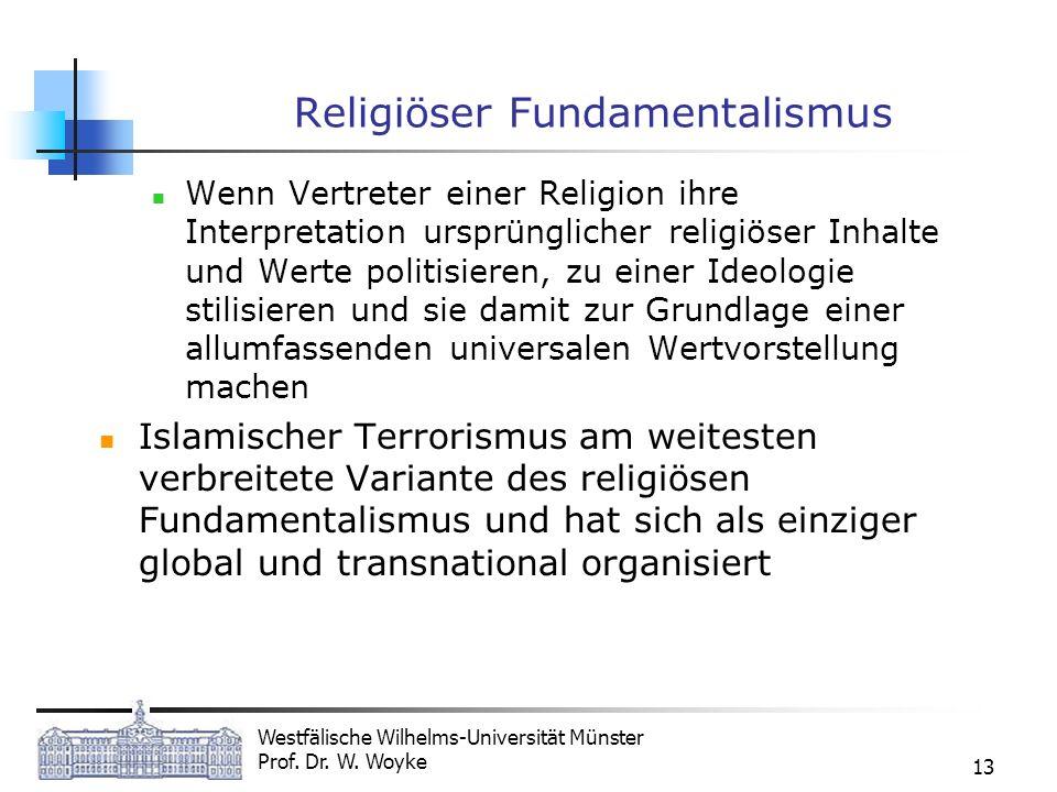 Westfälische Wilhelms-Universität Münster Prof. Dr. W. Woyke 13 Religiöser Fundamentalismus Wenn Vertreter einer Religion ihre Interpretation ursprüng