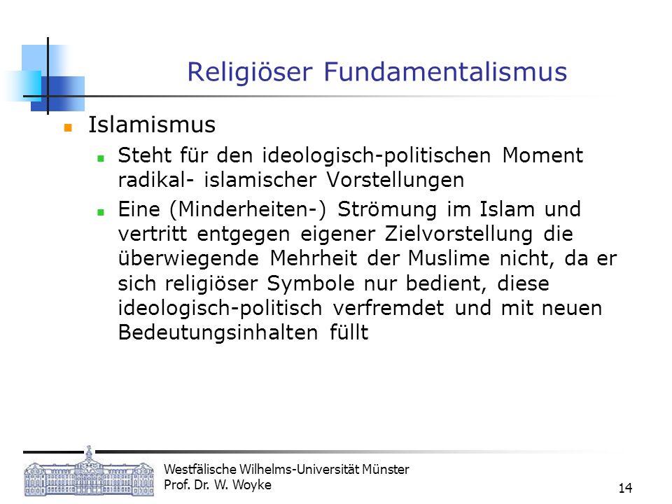 Westfälische Wilhelms-Universität Münster Prof. Dr. W. Woyke 14 Religiöser Fundamentalismus Islamismus Steht für den ideologisch-politischen Moment ra