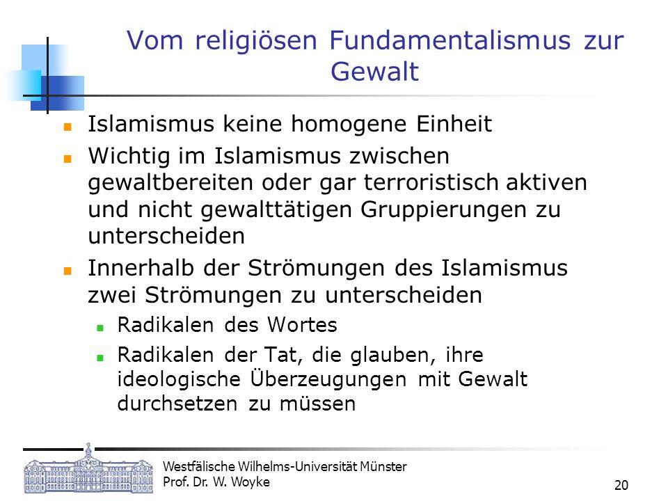 Westfälische Wilhelms-Universität Münster Prof. Dr. W. Woyke 20 Vom religiösen Fundamentalismus zur Gewalt Islamismus keine homogene Einheit Wichtig i