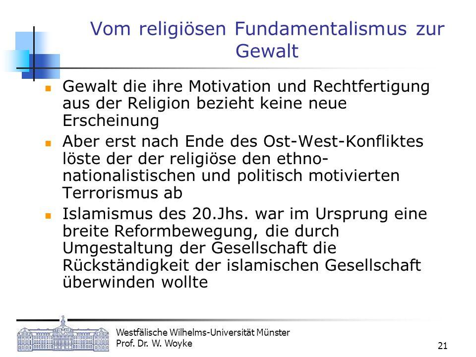 Westfälische Wilhelms-Universität Münster Prof. Dr. W. Woyke 21 Vom religiösen Fundamentalismus zur Gewalt Gewalt die ihre Motivation und Rechtfertigu