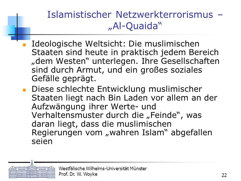 Westfälische Wilhelms-Universität Münster Prof. Dr. W. Woyke 22 Islamistischer Netzwerkterrorismus – Al-Quaida Ideologische Weltsicht: Die muslimische