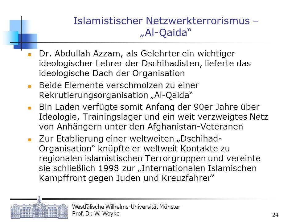 Westfälische Wilhelms-Universität Münster Prof. Dr. W. Woyke 24 Islamistischer Netzwerkterrorismus – Al-Qaida Dr. Abdullah Azzam, als Gelehrter ein wi