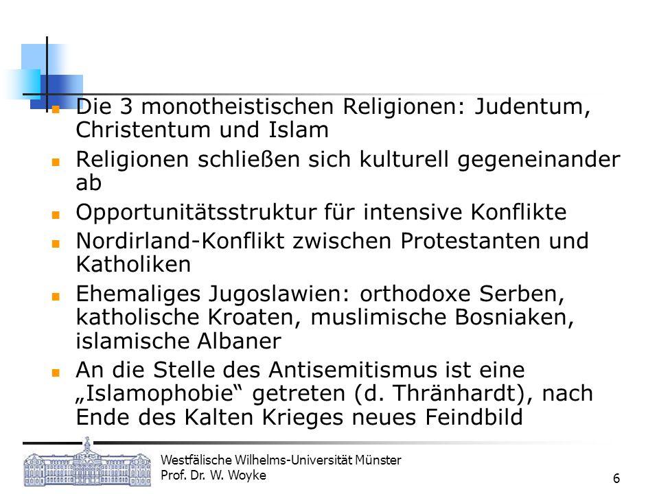 Westfälische Wilhelms-Universität Münster Prof. Dr. W. Woyke 6 Die 3 monotheistischen Religionen: Judentum, Christentum und Islam Religionen schließen