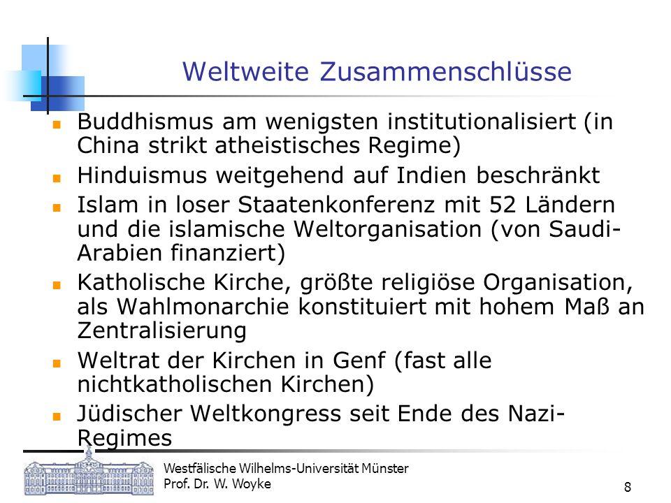 Westfälische Wilhelms-Universität Münster Prof. Dr. W. Woyke 8 Weltweite Zusammenschlüsse Buddhismus am wenigsten institutionalisiert (in China strikt