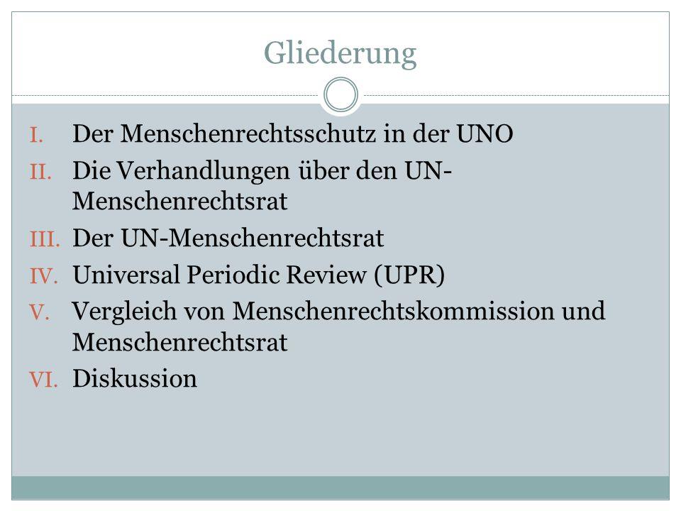 Gliederung 1) Etablierung der UPR 2) Allgemeine Struktur & Organisation 3) Konkreter Ablauf 4) Wirksamkeit der UPR