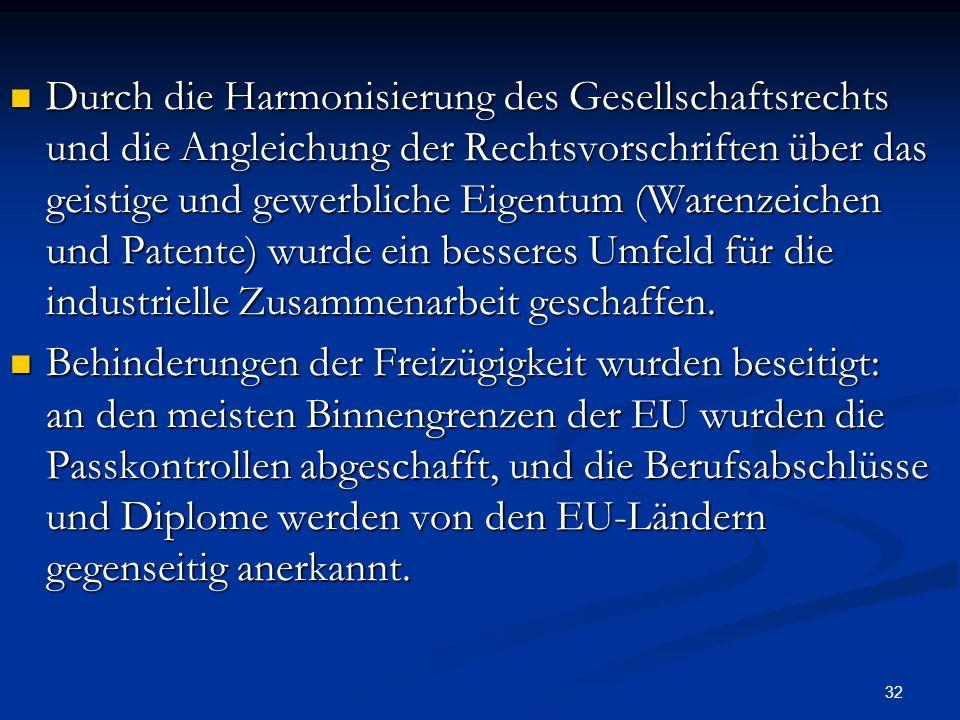 32 Durch die Harmonisierung des Gesellschaftsrechts und die Angleichung der Rechtsvorschriften über das geistige und gewerbliche Eigentum (Warenzeiche