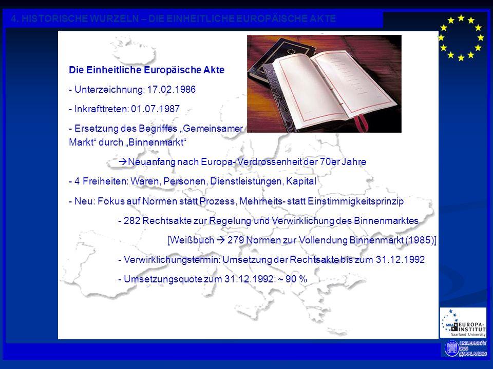 6 4. HISTORISCHE WURZELN – DIE EINHEITLICHE EUROPÄISCHE AKTE Die Einheitliche Europäische Akte - Unterzeichnung: 17.02.1986 - Inkrafttreten: 01.07.198