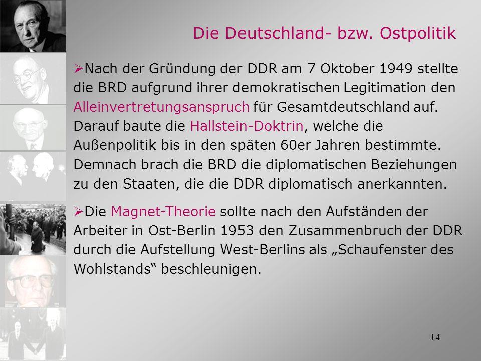 14 Nach der Gründung der DDR am 7 Oktober 1949 stellte die BRD aufgrund ihrer demokratischen Legitimation den Alleinvertretungsanspruch für Gesamtdeut