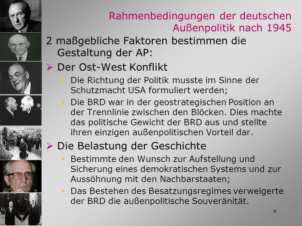 6 Rahmenbedingungen der deutschen Außenpolitik nach 1945 2 maßgebliche Faktoren bestimmen die Gestaltung der AP: Der Ost-West Konflikt Die Richtung de