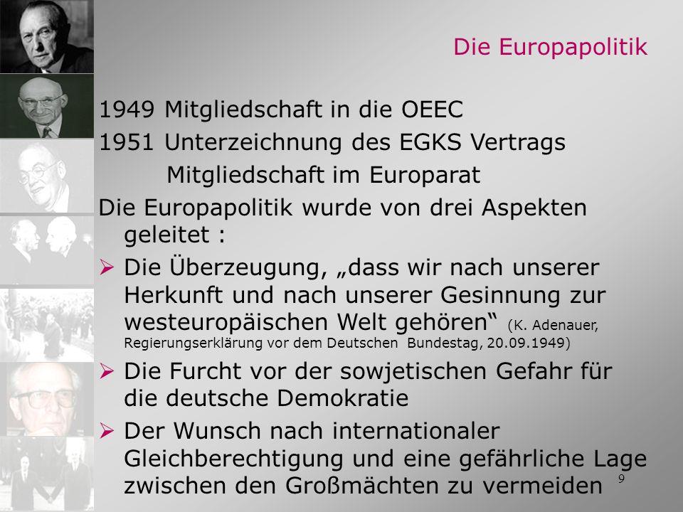 1949 Mitgliedschaft in die OEEC 1951 Unterzeichnung des EGKS Vertrags Mitgliedschaft im Europarat Die Europapolitik wurde von drei Aspekten geleitet :