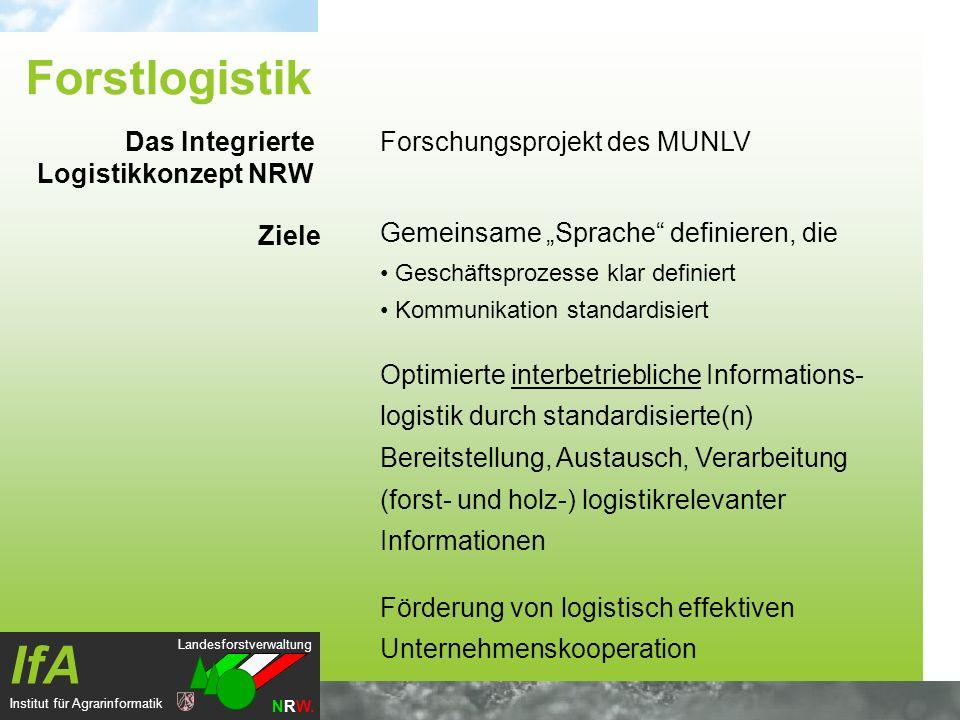 Landesforstverwaltung NRW. IfA Institut für Agrarinformatik Forschungsprojekt des MUNLV Gemeinsame Sprache definieren, die Geschäftsprozesse klar defi