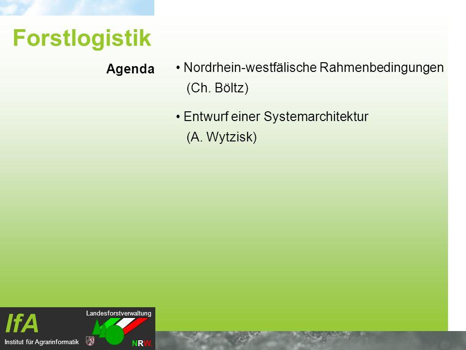 Landesforstverwaltung NRW. IfA Institut für Agrarinformatik Nordrhein-westfälische Rahmenbedingungen (Ch. Böltz) Entwurf einer Systemarchitektur (A. W