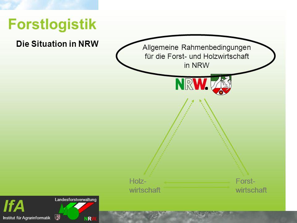 Landesforstverwaltung NRW. IfA Institut für Agrarinformatik Allgemeine Rahmenbedingungen für die Forst- und Holzwirtschaft in NRW Holz- wirtschaft For