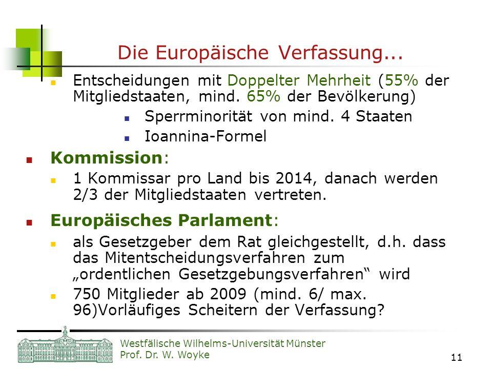 Westfälische Wilhelms-Universität Münster Prof. Dr. W. Woyke 11 Die Europäische Verfassung... Entscheidungen mit Doppelter Mehrheit (55% der Mitglieds