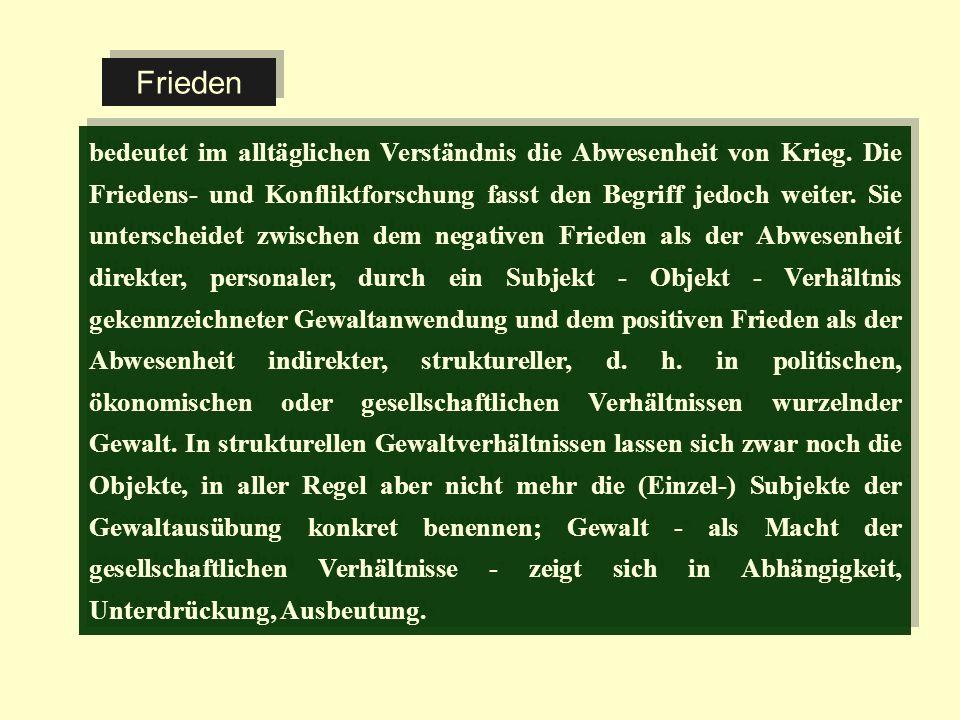 Literaturhinweise (zur eingehenderen Diskussion der inhaltlichen Bestimmungen von Frieden): Czempiel, Ernst-Otto: Friedensstrategien.
