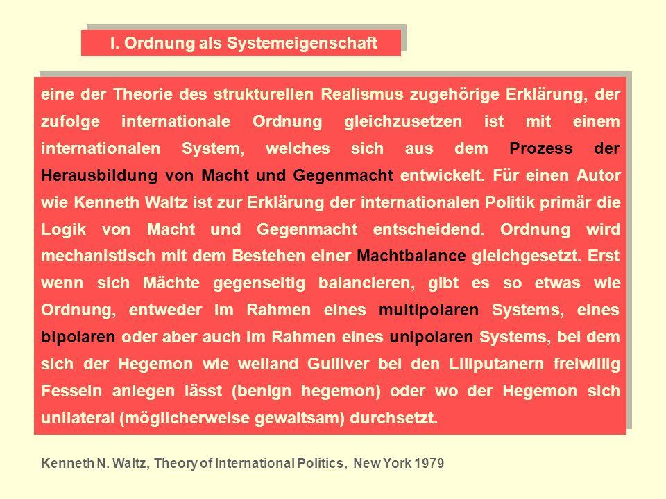 eine der Theorie des strukturellen Realismus zugehörige Erklärung, der zufolge internationale Ordnung gleichzusetzen ist mit einem internationalen Sys