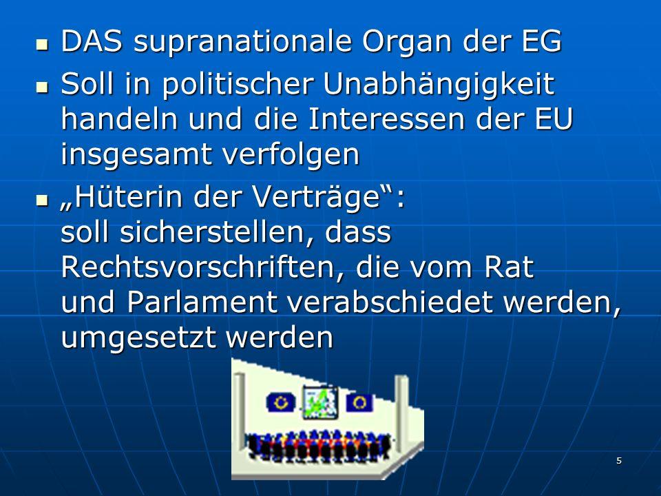 6 Initiativrecht im Rechtsetzungsprozess: kann Rechtsakte vorschlagen, über die das EP und der Rat beschließen Initiativrecht im Rechtsetzungsprozess: kann Rechtsakte vorschlagen, über die das EP und der Rat beschließen Einziges Organ, das der EU neue Rechtsvorschriften vorschlagen kann Einziges Organ, das der EU neue Rechtsvorschriften vorschlagen kann Führt als Exekutive der EU die Ratsentscheidungen (z.B.