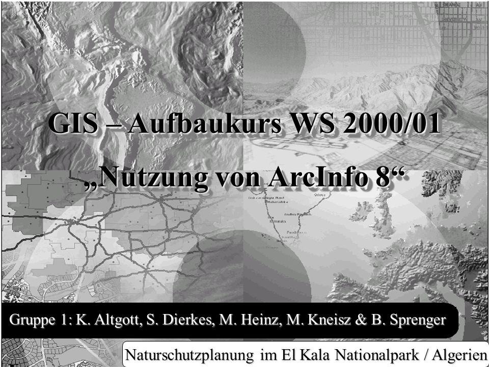 Digitalisieren und editieren Gruppe 1: K. Altgott, S. Dierkes, M. Heinz, M. Kneisz & B. Sprenger GIS – Aufbaukurs WS 2000/01 Nutzung von ArcInfo 8 GIS