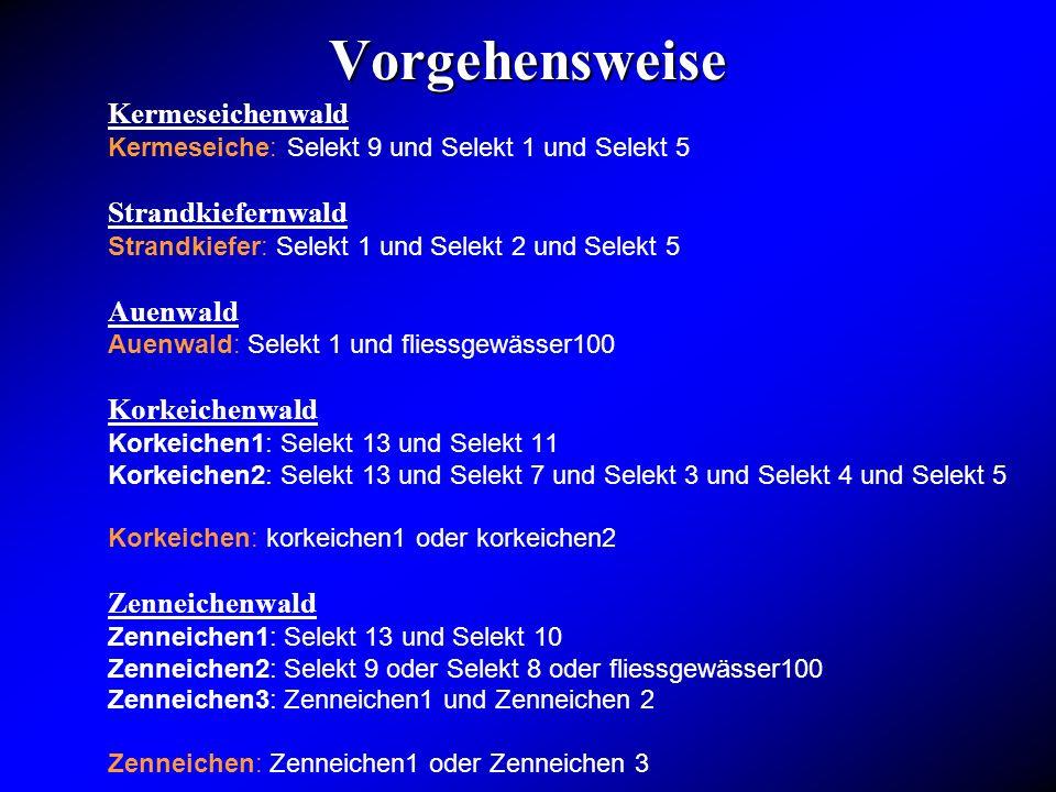 Vorgehensweise Kermeseichenwald Kermeseiche: Selekt 9 und Selekt 1 und Selekt 5 Strandkiefernwald Strandkiefer: Selekt 1 und Selekt 2 und Selekt 5 Aue