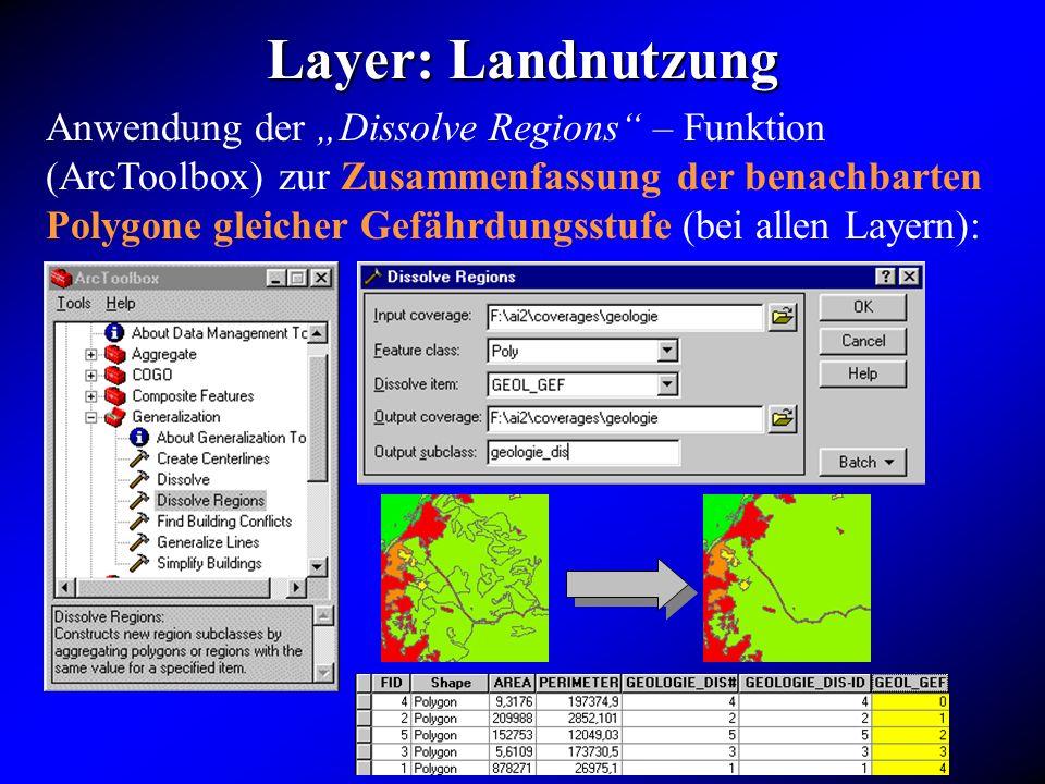 Layer: Landnutzung Anwendung der Dissolve Regions – Funktion (ArcToolbox) zur Zusammenfassung der benachbarten Polygone gleicher Gefährdungsstufe (bei