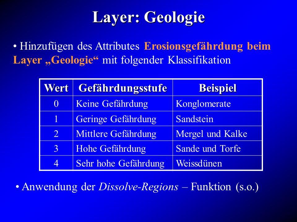 Hinzufügen des Attributes Erosionsgefährdung beim Layer Geologie mit folgender Klassifikation WertGefährdungsstufeBeispiel 0Keine GefährdungKonglomera