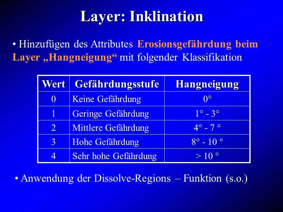 Layer: Inklination Hinzufügen des Attributes Erosionsgefährdung beim Layer Hangneigung mit folgender Klassifikation WertGefährdungsstufeHangneigung 0K