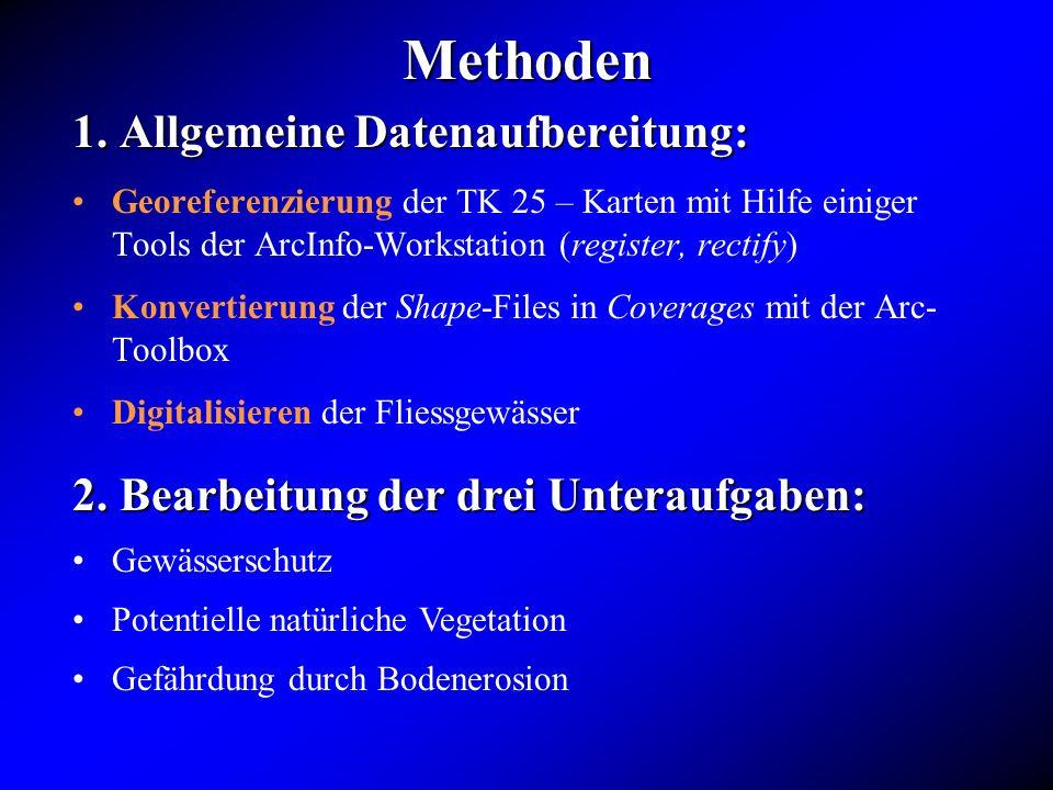 Methoden 1. Allgemeine Datenaufbereitung: Georeferenzierung der TK 25 – Karten mit Hilfe einiger Tools der ArcInfo-Workstation (register, rectify) Kon
