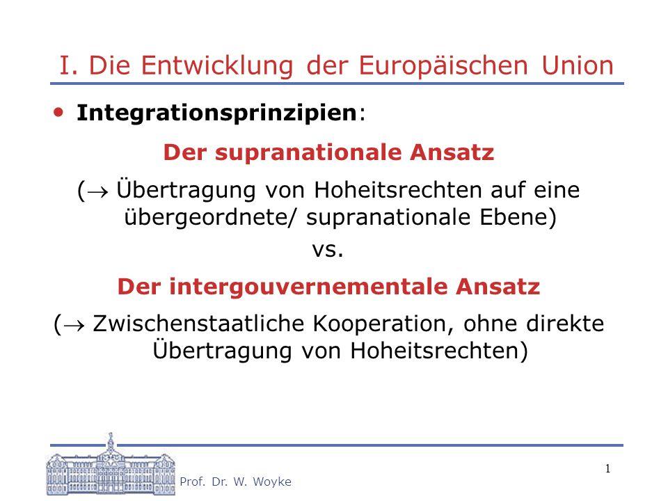 1 Prof. Dr. W. Woyke I. Die Entwicklung der Europäischen Union Integrationsprinzipien: Der supranationale Ansatz ( Übertragung von Hoheitsrechten auf