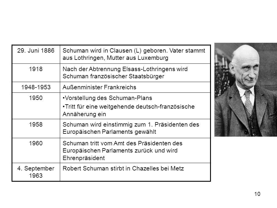 10 29. Juni 1886Schuman wird in Clausen (L) geboren. Vater stammt aus Lothringen, Mutter aus Luxemburg 1918Nach der Abtrennung Elsass-Lothringens wird