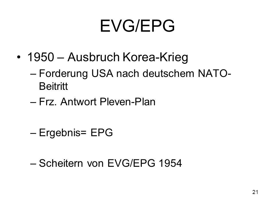 21 EVG/EPG 1950 – Ausbruch Korea-Krieg –Forderung USA nach deutschem NATO- Beitritt –Frz. Antwort Pleven-Plan –Ergebnis= EPG –Scheitern von EVG/EPG 19