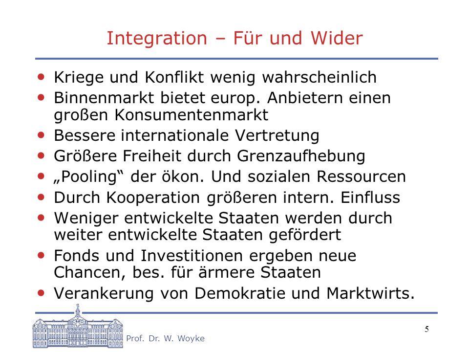 5 Prof. Dr. W. Woyke Integration – Für und Wider Kriege und Konflikt wenig wahrscheinlich Binnenmarkt bietet europ. Anbietern einen großen Konsumenten