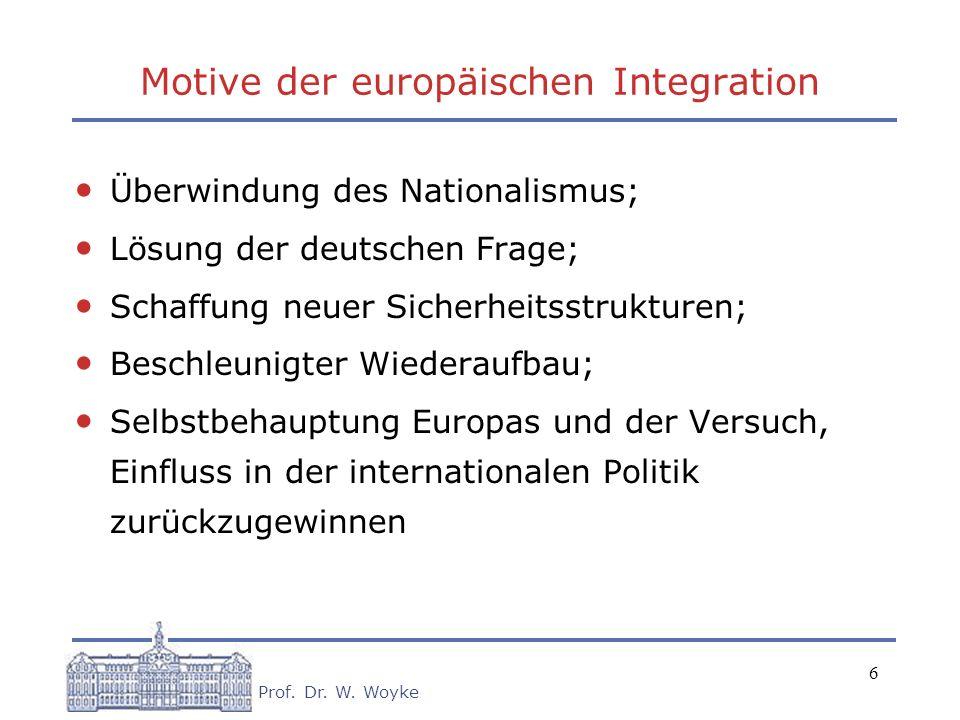 6 Prof. Dr. W. Woyke Motive der europäischen Integration Überwindung des Nationalismus; Lösung der deutschen Frage; Schaffung neuer Sicherheitsstruktu