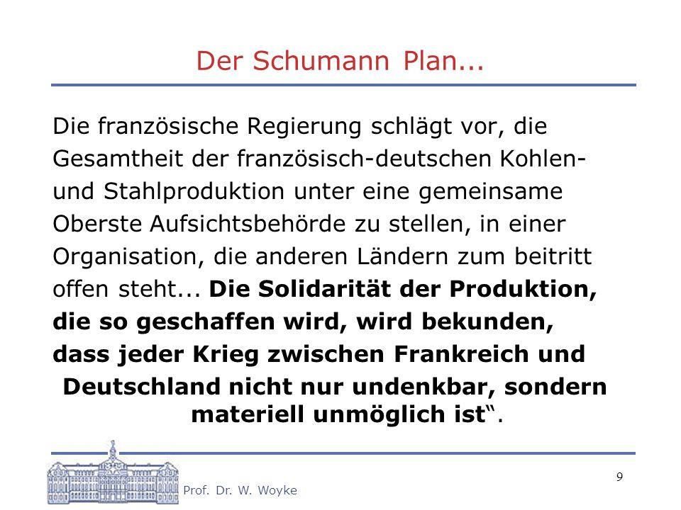 9 Prof. Dr. W. Woyke Der Schumann Plan... Die französische Regierung schlägt vor, die Gesamtheit der französisch-deutschen Kohlen- und Stahlproduktion