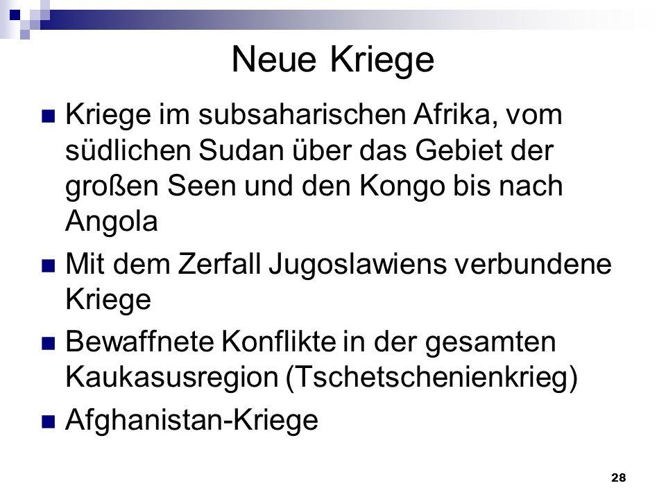 28 Neue Kriege Kriege im subsaharischen Afrika, vom südlichen Sudan über das Gebiet der großen Seen und den Kongo bis nach Angola Mit dem Zerfall Jugo
