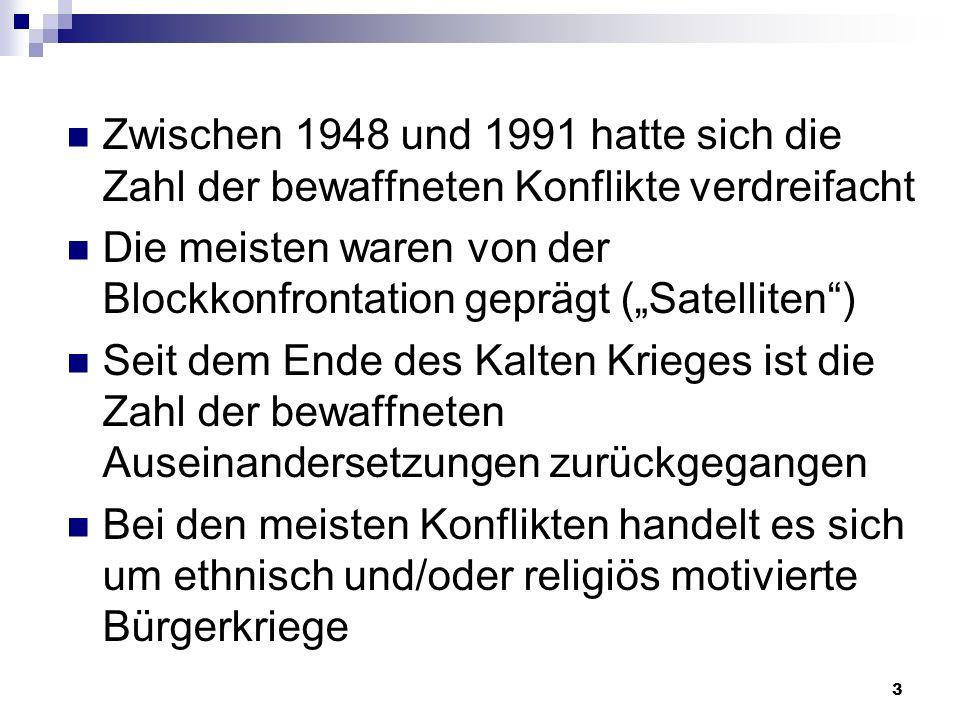 3 Zwischen 1948 und 1991 hatte sich die Zahl der bewaffneten Konflikte verdreifacht Die meisten waren von der Blockkonfrontation geprägt (Satelliten)