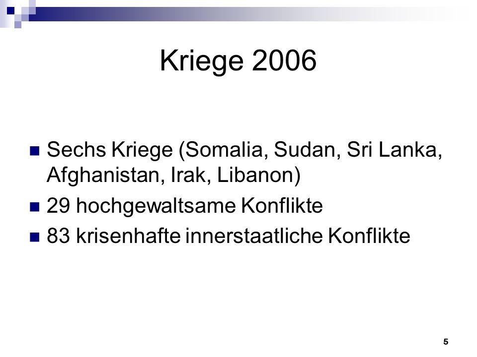 5 Kriege 2006 Sechs Kriege (Somalia, Sudan, Sri Lanka, Afghanistan, Irak, Libanon) 29 hochgewaltsame Konflikte 83 krisenhafte innerstaatliche Konflikt