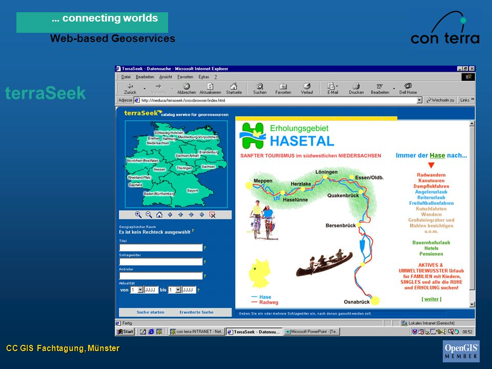 CC GIS Fachtagung, Münster... connecting worlds Web-based Geoservices terraSeek