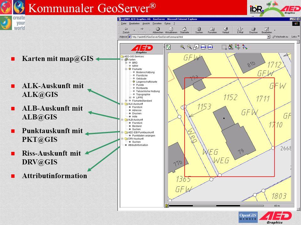 GDI NRW Testbed 1.0 Analyse Assistent Map@GIS: Räumliche Analyse Definition von fachlichen Anfragen Fachbedeutungen räumliche Einschränkung Definition von räumlichen Anfragen Umkreis Vordefiniertes Gebiet Interaktiv erstellte Gebietsauswahl z.B.