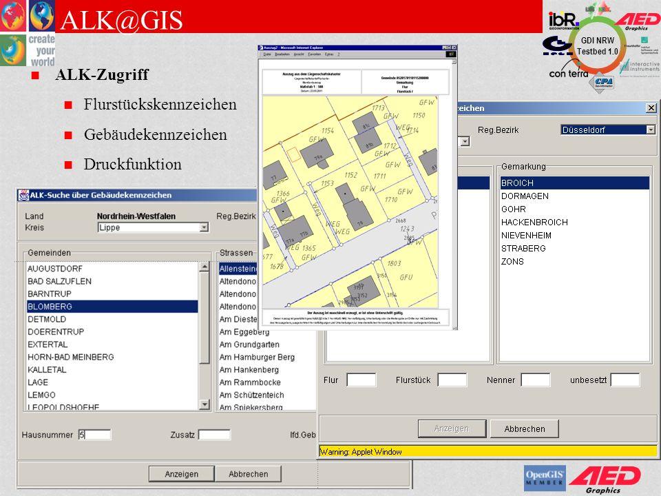 GDI NRW Testbed 1.0 Suchen und Finden über Metadaten Metainformationssystem des BKG Metainformationen zu Produkten Überblick Qualität Lagebezug Ausdehnung Vertrieb, Kontaktinformations Integration des MIS Startseite des MIS anzeigen Produkte im MIS suchen im aktuellen Ausschnitt (Map@GIS) Produkt im MIS anzeigen Hyperlink zu GeoServer- Kartenwerk GeoTransform (transformiert Koordinaten) Gauss-Krüger, UTM (Mapping) Geographische Koordinaten (Metadaten)