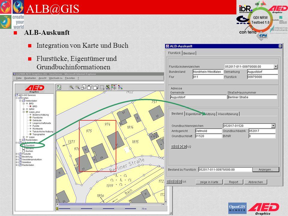 GDI NRW Testbed 1.0 DRV@GIS Zugriff auf Rissarchiv im Browser Fachliche Suche Anzeige (Zoom, Pan) Notizen Druckfunktion