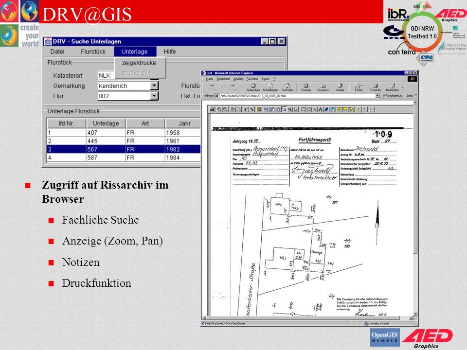 GDI NRW Testbed 1.0 Information aus AEDIDB-Punktnachweis Information zu graphisch gewähltem Punkt Punktselektion über Nummerierungs-bezirk und Punktnummer Objektinformationen Allgemeine Infos Hyperlinks Multimedia PKT@GIS und Objektinformation