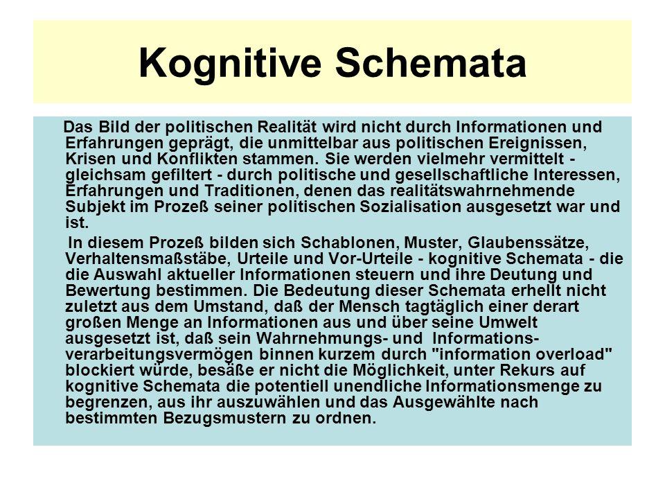 Kognitive Schemata Das Bild der politischen Realität wird nicht durch Informationen und Erfahrungen geprägt, die unmittelbar aus politischen Ereigniss